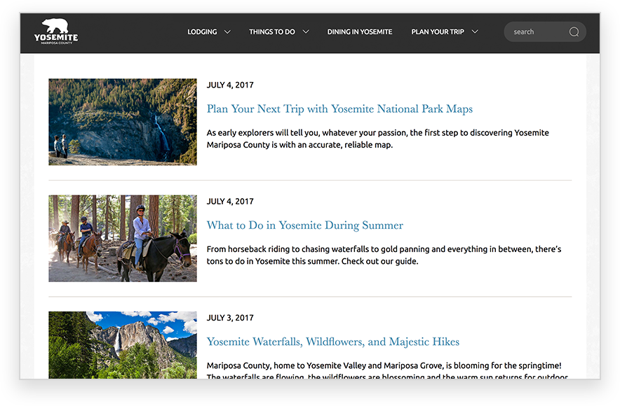 Yosemite Blog Content