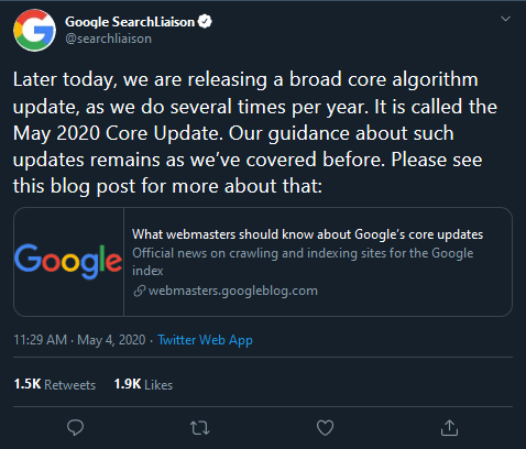 google announces algorithm update