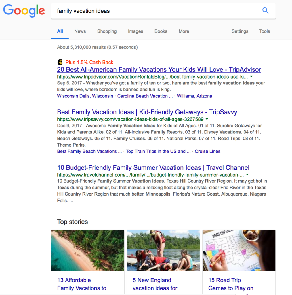 SEO Google Search for Family Vacations