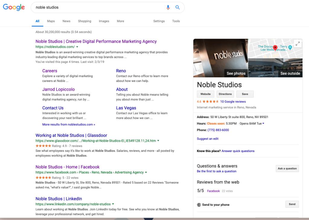 Google Site Diversity Change Algorithm Update | Noble Studios