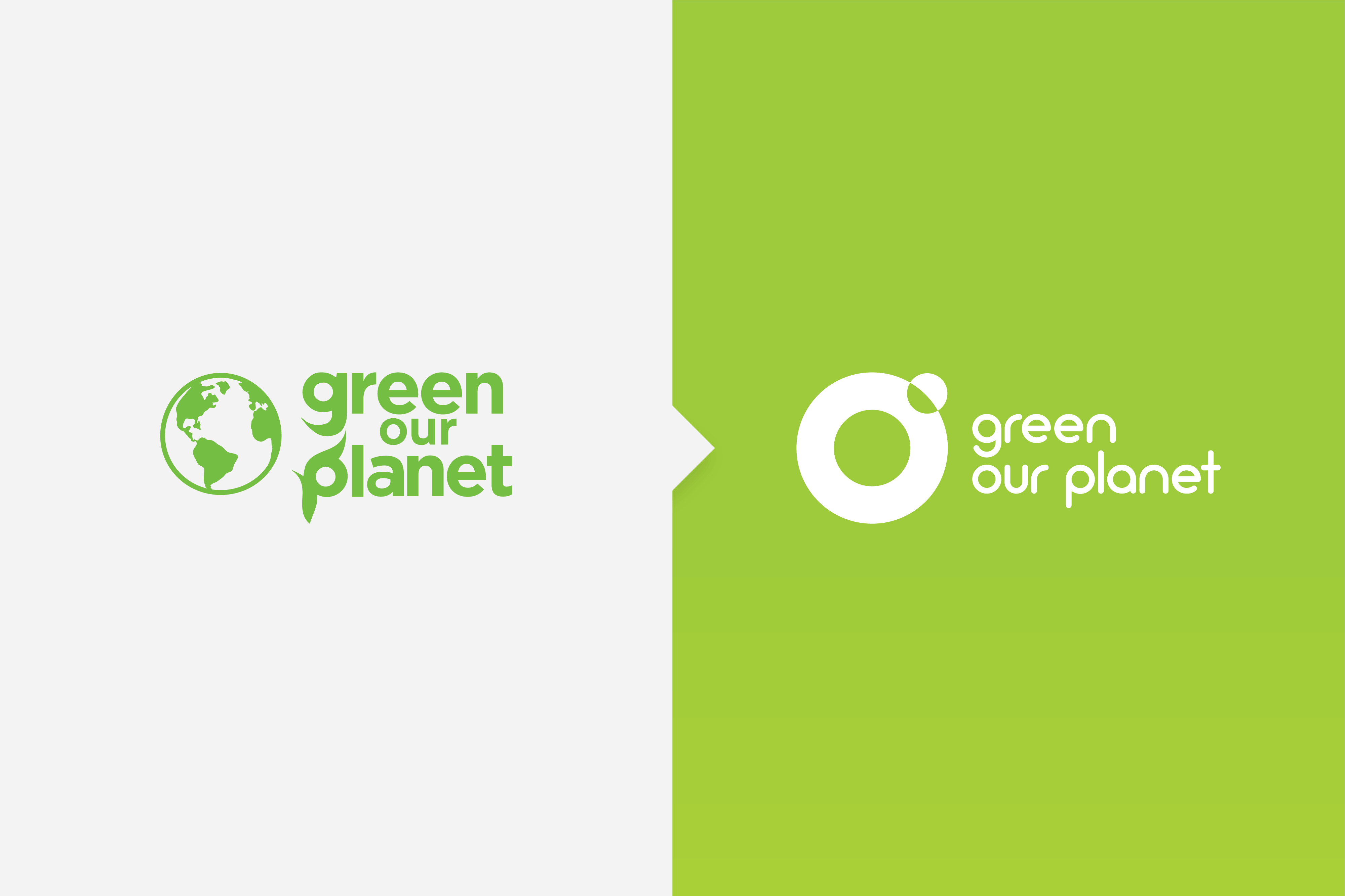 Side by side of Green Our Planet's old and new logo