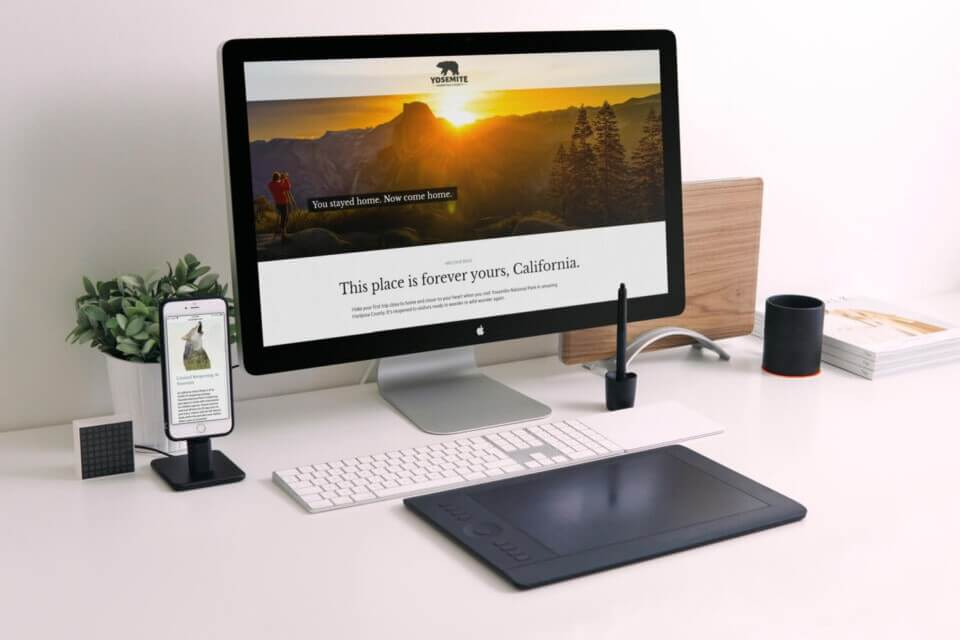 Landing page displayed on mac and iphone