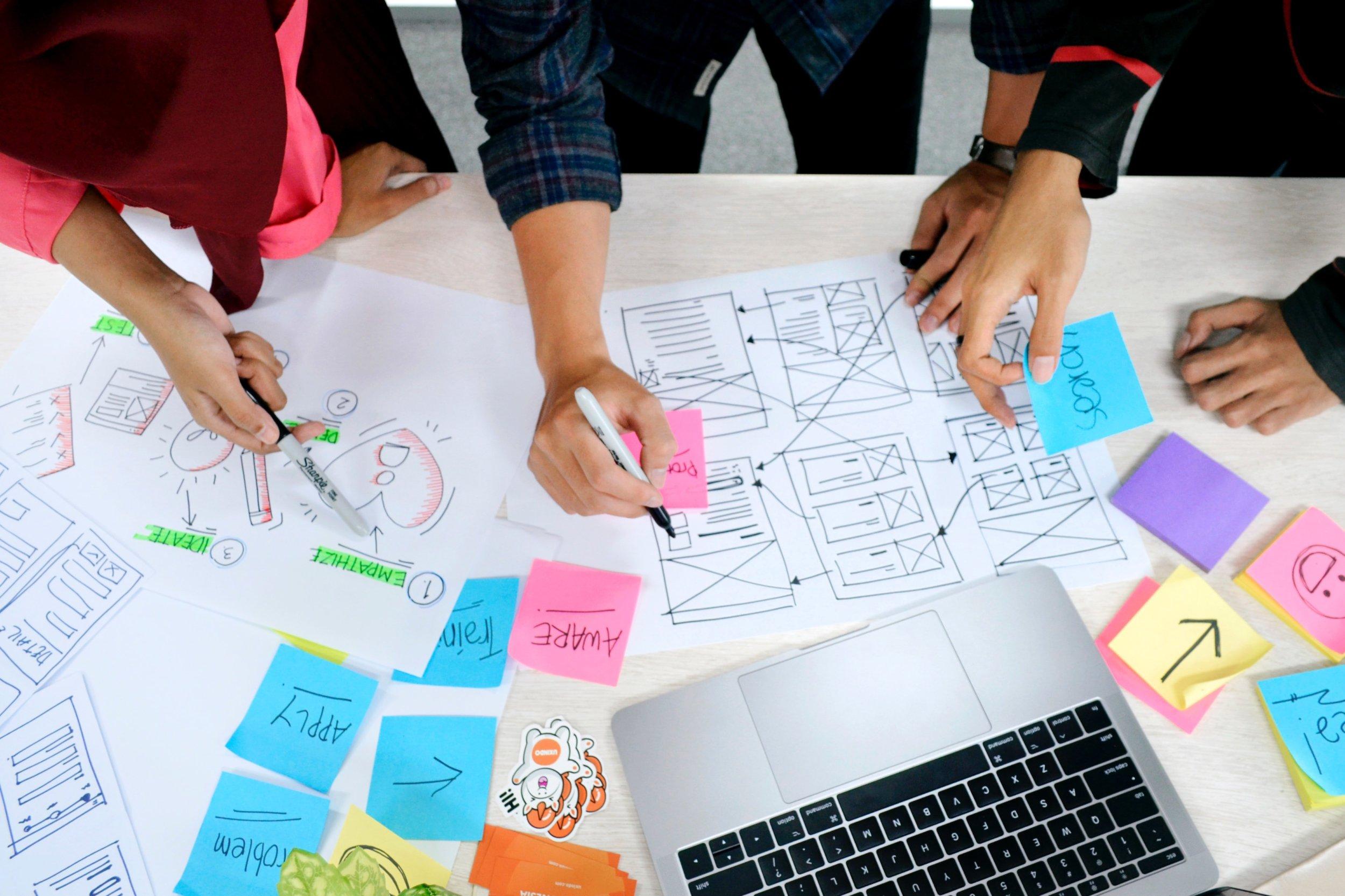 A team creates a user friendly design